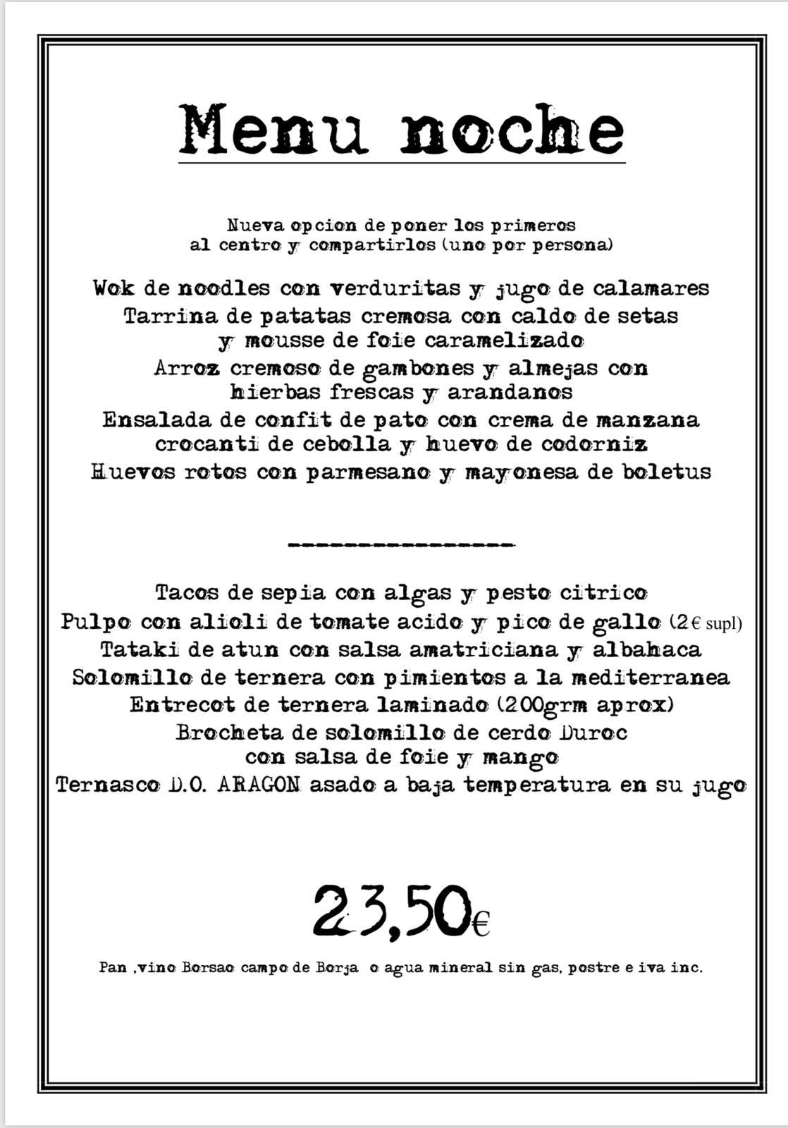 asian menu de noche
